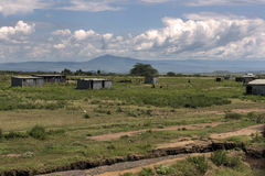 Tin houses on savanna in Great Rift Valley Stock Photo