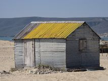 Tin hut in the village, Madagascar stock images