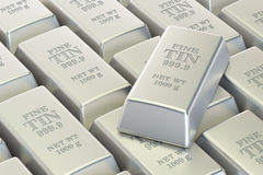 Tin ingots background, 3D Stock Photography