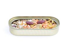 Tin with legumes. Isolated in background white Royalty Free Stock Image
