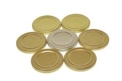 Tin lids for canning. Isolated on white background Royalty Free Stock Images