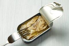 Tin of mackerel. The top of a tin of mackerel opened Stock Photos