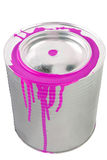 Tin of a magenta paint. Royalty Free Stock Photography