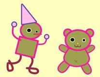 Tin man and teddy bear illustration Stock Photography
