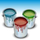 Tin met verf Royalty-vrije Stock Afbeelding