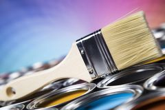 Paint brush, tin can and color guide samples. Tin metal cans with color paint and paintbrush Stock Images