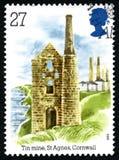Tin Mine i portostämpel för St Agnes UK Royaltyfria Foton