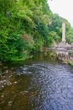 Tin mine and the river stock photography