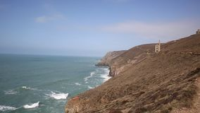 Tin mine and South West Coast Path Cornwall. Cornwall coast tin mine England UK near St Agnes Beacon on the South West Path known as Wheal Coates stock video