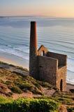 Tin Mine van Cornwall, St Agnes Head, Cornwall Stock Afbeelding