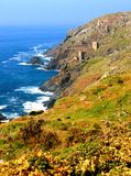Tin Mines, Cornwall, England. View of the Cornish coast with old tin mines and sea view Stock Photo