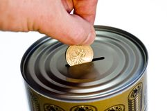 Tin money box Royalty Free Stock Images