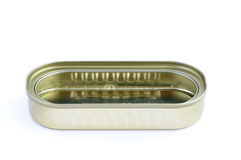 Tin open. Tin can isolated in background white Stock Image