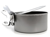 Tin with opener Royalty Free Stock Photo