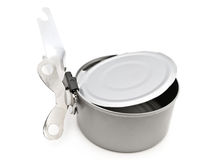 Tin opener and can Stock Photo