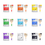Tin Of Paint With Brash. Set of paint buckets. Seven main colors drips on brushes and cans Stock Photo