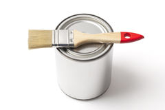 Tin Paint Can and Brash on White with Clipping Path Royalty Free Stock Image