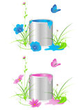 Tin with a paint and  flowers Royalty Free Stock Photos