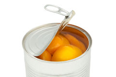 Tin of peaches Royalty Free Stock Images