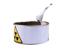 Tin with radiation sign eight Royalty Free Stock Photography