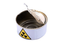 Tin with radiation sign five Royalty Free Stock Photos