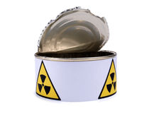Tin with radiation sign one. Tin with a radiation sign on white background Royalty Free Stock Photography