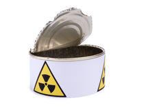 Tin with radiation sign three Stock Images