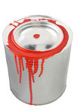 Tin of a red paint. Stock Photography