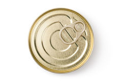 Tin with ring pull. Top view. Stock Photo