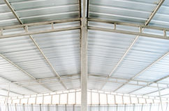 Tin Roof. Inside view of tin roof and beams stock photos