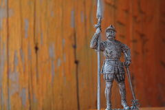 Tin soldier. Expressive tin soldier with weapons and armor Stock Photo