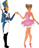 Tin soldier in uniform with a ballerina. Tin soldier in uniform with ballerina in pink dress, on white background Stock Photography