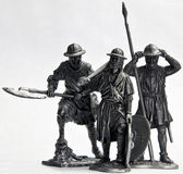 Tin Soldiers. Medieval warriors tin soldiers figurines stock photo
