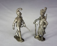 Tin soldiers. Cast from tin soldiers. Warrior of the 19th century. Many small details. Good job Royalty Free Stock Images