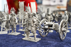 Tin soldiers samurai and cannon Royalty Free Stock Photos