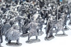 Tin soldiers. A toy soldier made of metal stock image