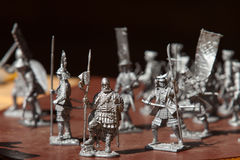 Tin soldiers. A toy soldier made of metal. Close up Stock Photo