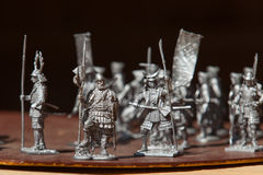 Tin soldiers. A toy soldier made of metal. Close up Royalty Free Stock Photos