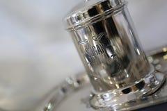 Tin sugar box. Silver holder royalty free stock image