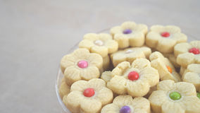 A tin of sweet and colorful cakes food Royalty Free Stock Photography