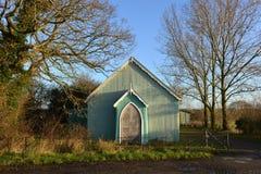 Tin tabernacle. Old green tin tabernacle with oak doors Stock Photos