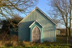 Tin tabernacle. Old green tin tabernacle with oak doors Stock Photography