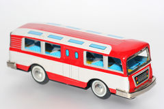 Tin toy bus. One of the many thousand  toys my brother is collecting. Tin toy bus Royalty Free Stock Image