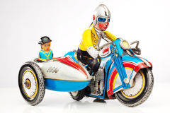 Tin toy motorbike racer Stock Photos