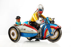 Tin toy motorbike racer. With side car Stock Photos