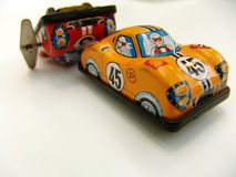Tin toy racing cars. Tin toy racing car accident Royalty Free Stock Images