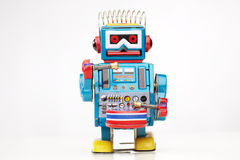 Tin toy robot drummer Royalty Free Stock Images