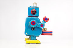 Tin toy robot drummer Stock Photography