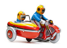 Tin toy sidecar motorcycle. On white background Stock Image