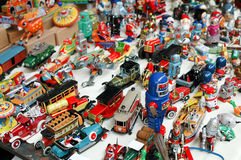Tin toys. The Chinese market, colorful tin toys Stock Image